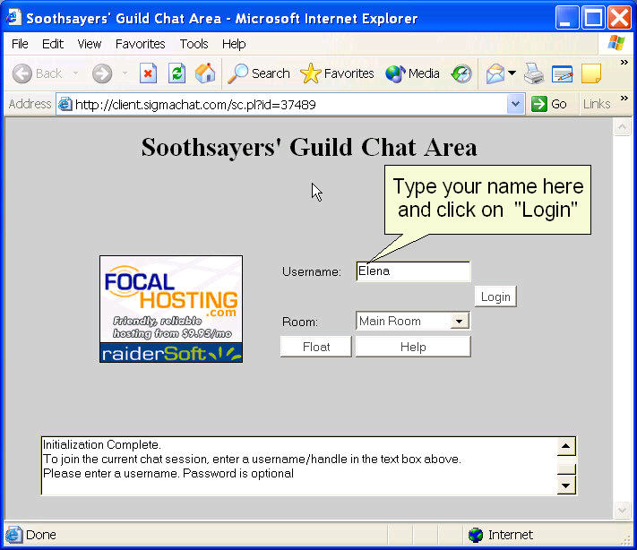 Chat Room Log-In